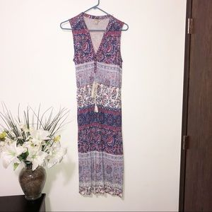 Lucky brand boho style sleeveless maxi dress XS